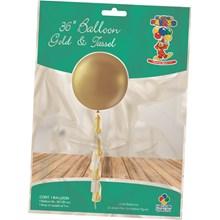 """36"""" TASSEL TAIL BALLOON - GOLD METALLIC"""
