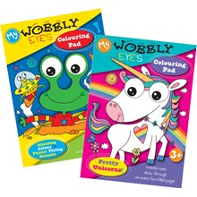 WOBBLY EYES COLOURING PAD 2 ASSORTED