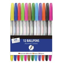 JUST STATIONERY - BALLPOINT PENS - 12 PACK