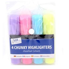 JUST STATIONERY - CHUNKY HIGHLIGHTERS - 4 PACK