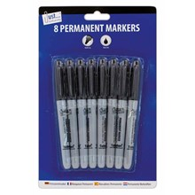 JUST STATIONERY - BLACK PERMANENT MARKERS - 8 PACK