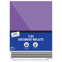 JUST STATIONERY - A4 POLY FILE WALLET - 3 PACK