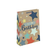 GIFT BAG - HAPPY BIRTHDAY KRAFT EFFECT - LARGE