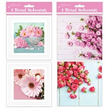 SQUARE NOTECARDS - FLORAL -  8 PACK