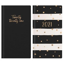 WEEK TO VIEW SLIM DIARY -  2021 BLACK & WHITE