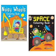 SQUIGGLE - A4 COLOURING BOOK - SPACE/NOISY WHEELS