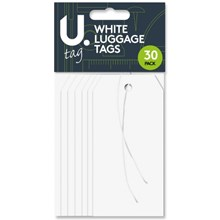 PAPER LUGGAGE TAGS - WHITE - 30 PACK