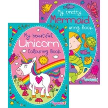 A4 COLOURING BOOK - UNICORN AND MERMAID - 2ASST