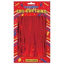 FOIL DOOR CURTAINS RED