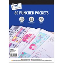 JUST STATIONERY - PUNCHED POCKETS - 80 PACK