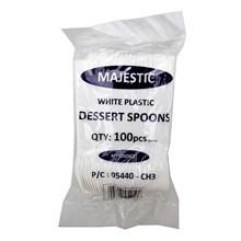 MAJESTIC - PLASTIC DESSERT SPOONS - 100 PACK