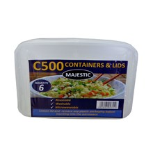 MAJESTIC 6PC PLASTIC CONTAINERS & LIDS C500