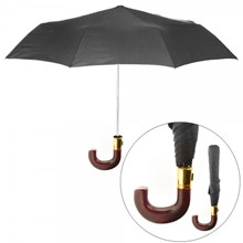 BROWN J HANDLE MENS BLACK AUTO UMBRELLA