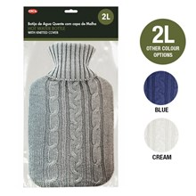 HOT WATER BOTTLE 2L WITH KNITTED COVER