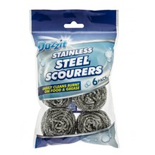 DUZZIT STAINLESS STEEL SCOURERS 6 PACK