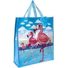 FLAMINGO WOVEN SHOPPING BAG 16 X 18 X 6""