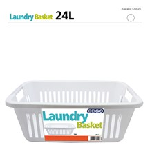 EDGO - 24L RECTANGLE LAUNDRY BASKET - WHITE