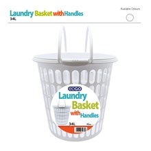 EDGO 34L ROUND LAUNDRY BASKET WITH HANDLES -WHITE