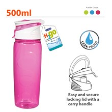 EDGO - H2GO DRINKING BOTTLE 500ML 3 ASSORTED