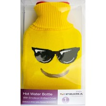 EMOJI HOT WATER BOTTLE WITH KNITTED COVER