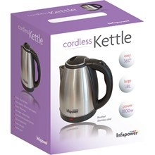 INFAPOWER CORDLESS KETTLE STAINLESS STEEL 1.8L