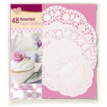 ASSORTED ROUND PAPER DOILIES - 36 PACK