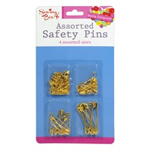 SEWING BOX - ASSORTED SAFETY PINS - GOLD