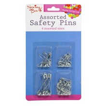SEWING BOX ASSORTED SAFETY PINS - SILVER