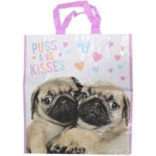 LARGE WOVEN SHOPPING BAG - PUGS AND KISSES