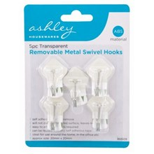ASHLEY - CLEAR REMOVABLE METAL SWIVEL HOOKS - 5PC