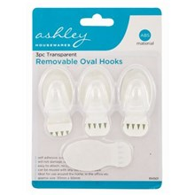 ASHLEY 3PC CLEAR REMOVABLE OVAL HOOKS