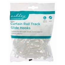 ASHLEY - CURTAIN RAIL TRACK GLIDE HOOKS - 60 PACK