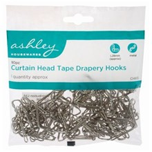 ASHLEY - CURTAIN HEAD TAPE DRAPERY HOOKS - 80 PACK