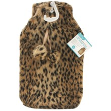 HOT WATER BOTTLE - FAUX FUR LEOPARD COVER