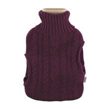 HOT WATER BOTTLE KNITTED WITH POCKETS - 2L PURPLE
