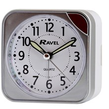 RAVEL - SQUARE TRAVEL ALARM CLOCK - SILVER
