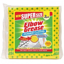 ELBOW GREASE - SUPER SIZE POWER CLOTHS - 3 PACK