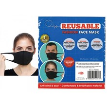 REUSABLE FACE MASK - BLACK SPANDEX