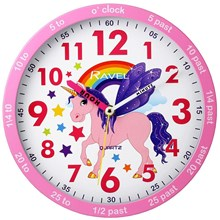 RAVEL - TIME TEACHER WALL CLOCK - UNICORN 10""