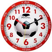 "RAVEL - TIME TEACHER WALL CLOCK - RED FOOTBALL 10"""