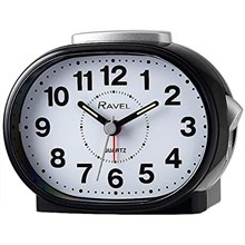 RAVEL - CLASSIC OVAL ALARM CLOCK - BLACK