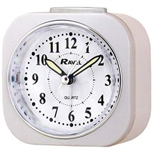 RAVEL - CURVED RECT. BEDSIDE ALARM CLOCK - WHITE