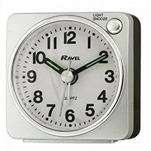 RAVEL - MINI ALARM CLOCK - SILVER/BLACK/SILVER