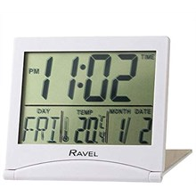 RAVEL - TRAVEL FLIP DIGITAL ALARM CLOCK - WHITE