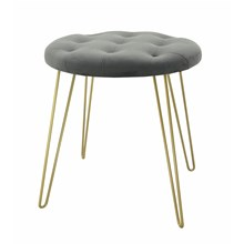 STOOL WITH GOLD LEGS -  GREY