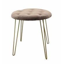 STOOL WITH GOLD LEGS - PINK