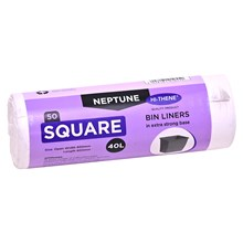 NEPTUNE - WHITE 40L SQUARE BIN LINERS ON ROLL