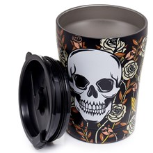SKULL & ROSES REUSABLE THERMAL DRINKS CUP - 300ML