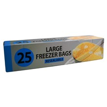 LARGE FREEZER BAGS RESEALABLE - 25 PACK