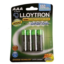 LLOYTRON RECHARGEABLE AAA - 4 PACK 550 MAH